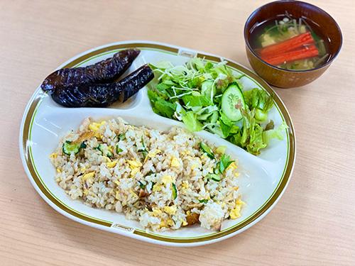 茄子の煮びたしとバラ寿司(アジの干物バージョン)